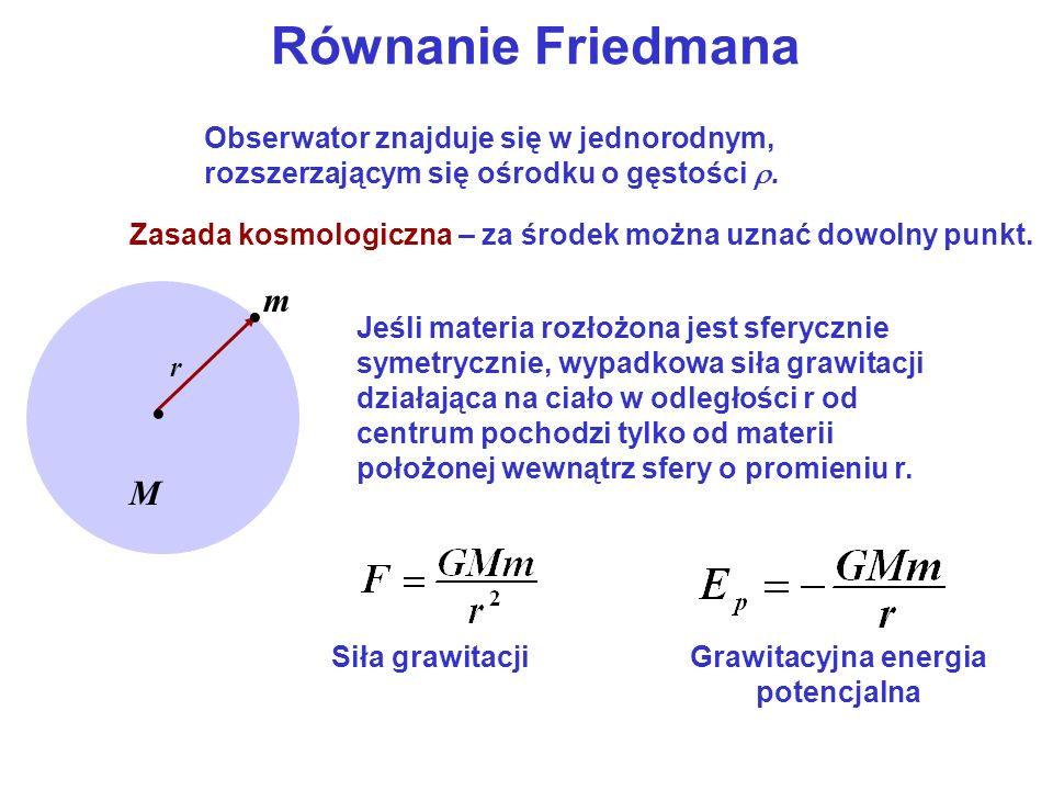 Równanie Friedmana m • M