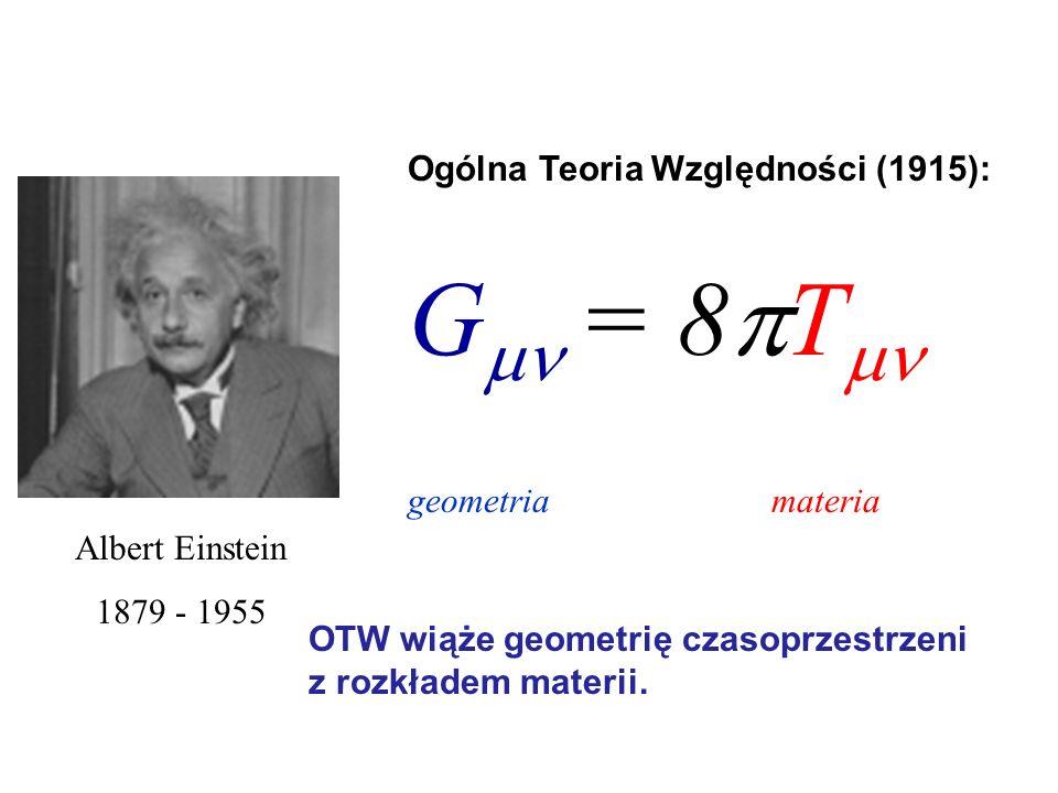 G = 8T Ogólna Teoria Względności (1915): geometria materia