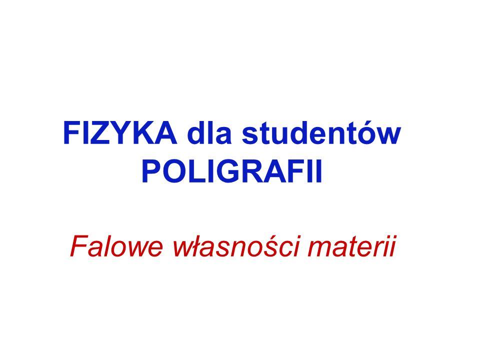FIZYKA dla studentów POLIGRAFII Falowe własności materii