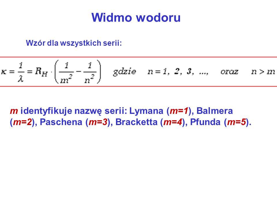 Widmo wodoru Wzór dla wszystkich serii: m identyfikuje nazwę serii: Lymana (m=1), Balmera (m=2), Paschena (m=3), Bracketta (m=4), Pfunda (m=5).