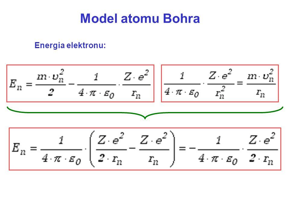 Model atomu Bohra Energia elektronu: