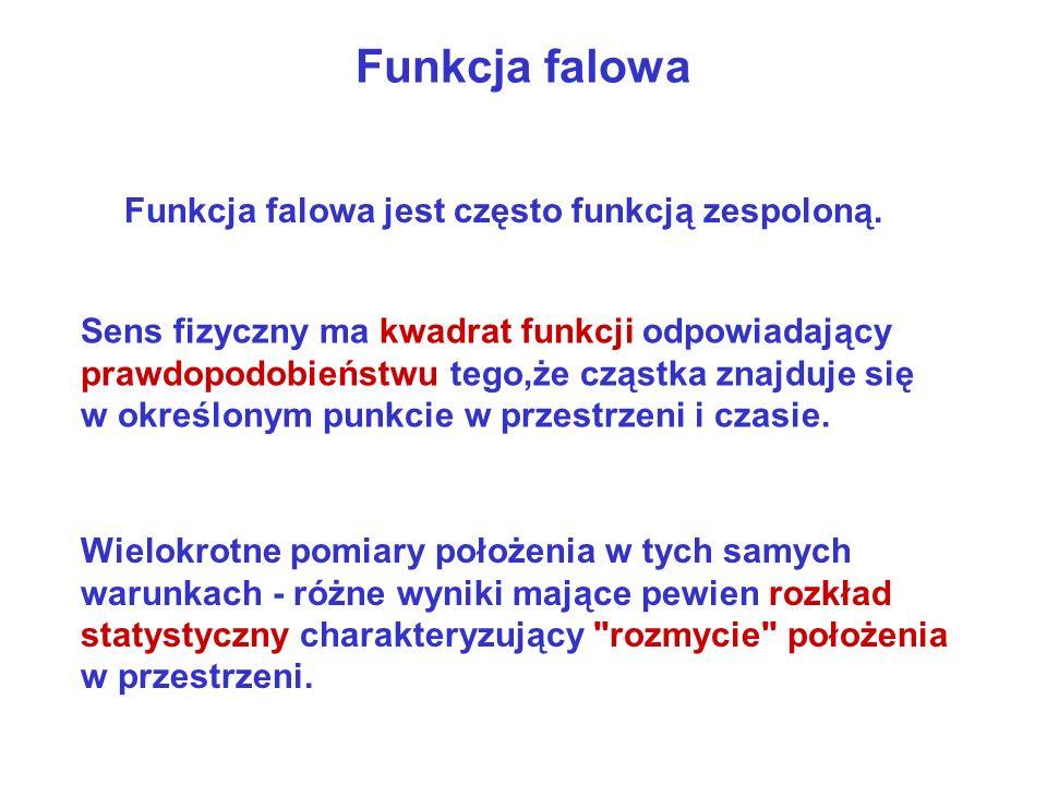 Funkcja falowa Funkcja falowa jest często funkcją zespoloną.