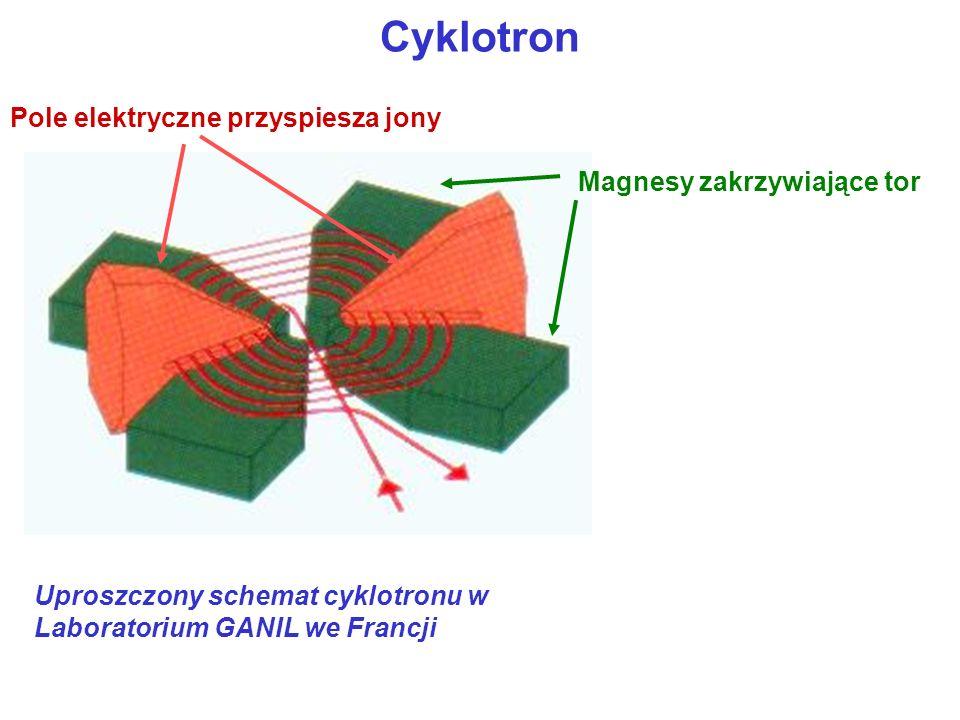 Cyklotron Pole elektryczne przyspiesza jony Magnesy zakrzywiające tor