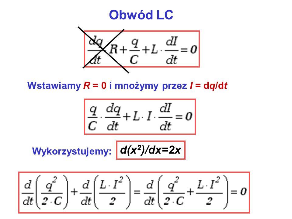 Obwód LC d(x2)/dx=2x Wstawiamy R = 0 i mnożymy przez I = dq/dt