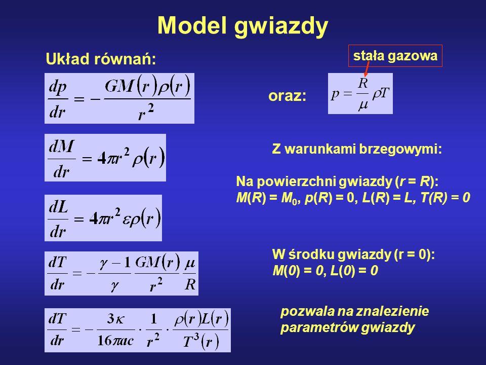 Model gwiazdy Układ równań: oraz: stała gazowa Z warunkami brzegowymi: