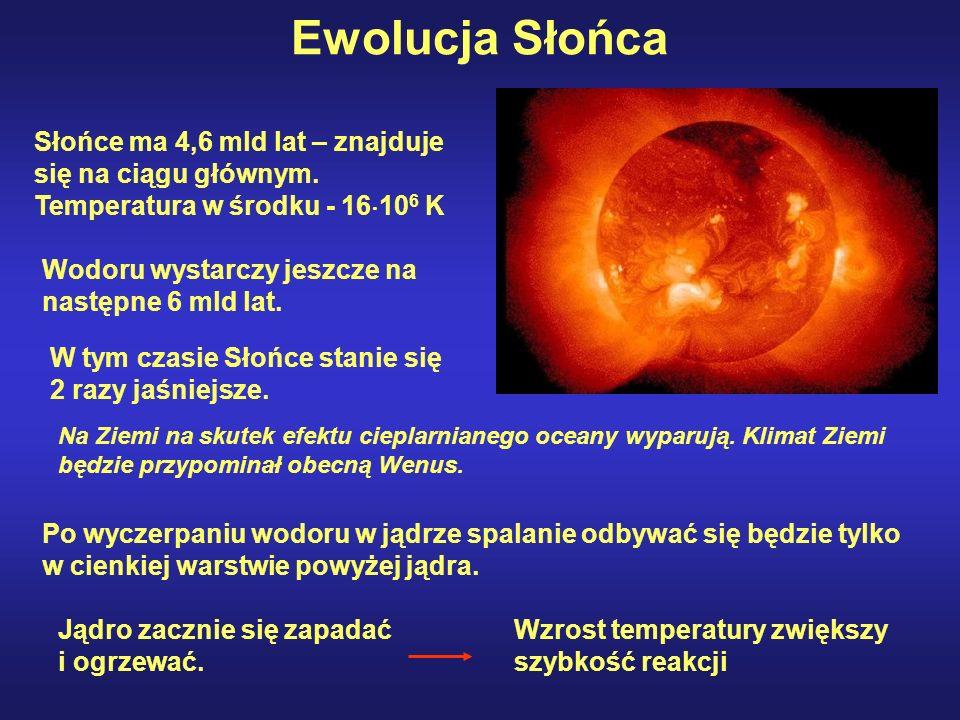 Ewolucja Słońca Słońce ma 4,6 mld lat – znajduje się na ciągu głównym. Temperatura w środku - 16106 K.