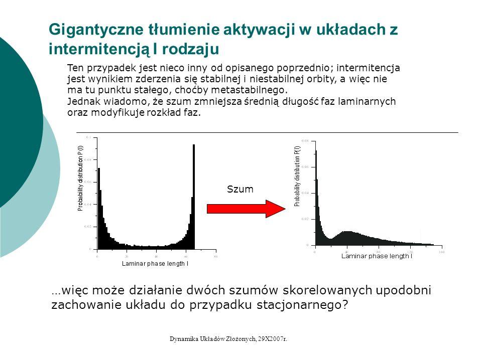 Gigantyczne tłumienie aktywacji w układach z intermitencją I rodzaju