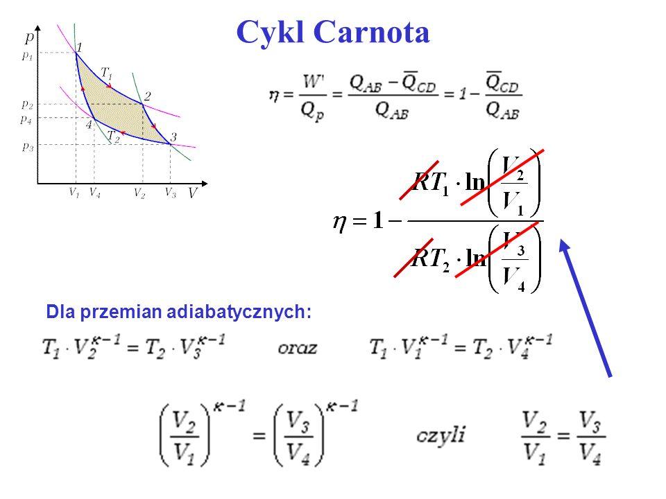 Cykl Carnota Dla przemian adiabatycznych: