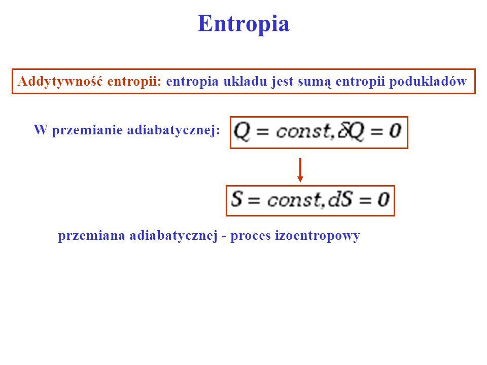 Entropia Addytywność entropii: entropia układu jest sumą entropii podukładów. W przemianie adiabatycznej: