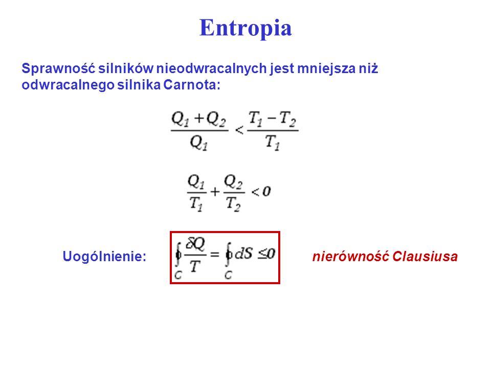Entropia Sprawność silników nieodwracalnych jest mniejsza niż odwracalnego silnika Carnota: Uogólnienie: