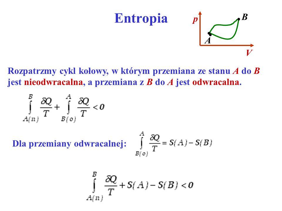 Entropia B. V. p. • A. Rozpatrzmy cykl kołowy, w którym przemiana ze stanu A do B jest nieodwracalna, a przemiana z B do A jest odwracalna.