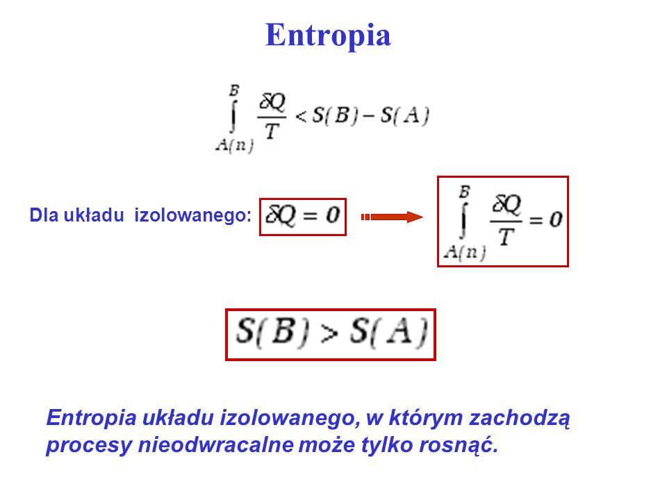 EntropiaDla układu izolowanego: Entropia układu izolowanego, w którym zachodzą procesy nieodwracalne może tylko rosnąć.