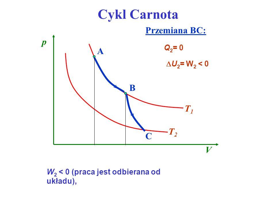 Cykl Carnota Przemiana BC: p A B T1 T2 C V Q2= 0 U2= W2 < 0