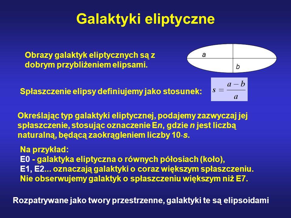 Galaktyki eliptyczne a. b. Obrazy galaktyk eliptycznych są z dobrym przybliżeniem elipsami. Spłaszczenie elipsy definiujemy jako stosunek: