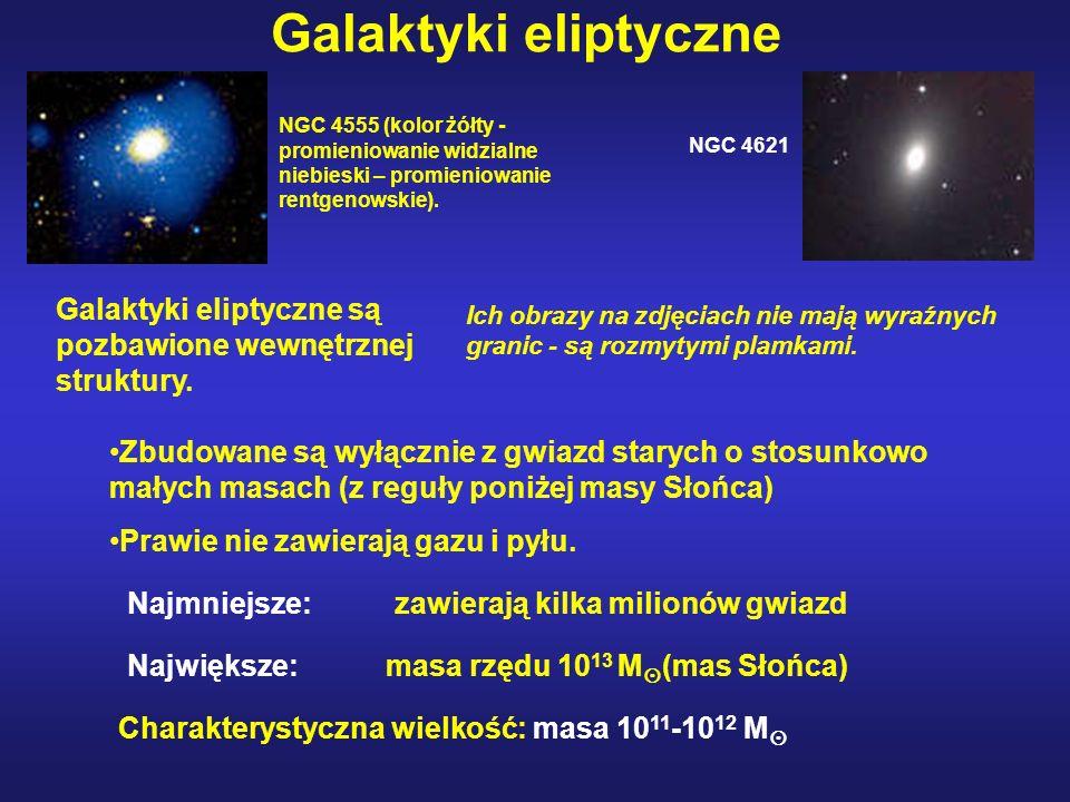 Galaktyki eliptyczne NGC 4555 (kolor żółty - promieniowanie widzialne niebieski – promieniowanie rentgenowskie).