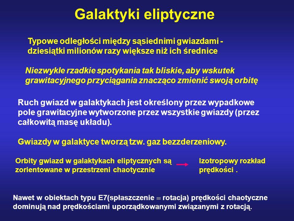 Galaktyki eliptyczne Typowe odległości między sąsiednimi gwiazdami - dziesiątki milionów razy większe niż ich średnice.