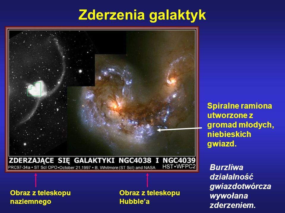 Zderzenia galaktyk Spiralne ramiona utworzone z gromad młodych, niebieskich gwiazd. Burzliwa działalność gwiazdotwórcza wywołana zderzeniem.