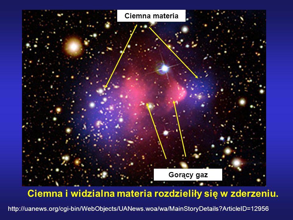 Ciemna i widzialna materia rozdzieliły się w zderzeniu.