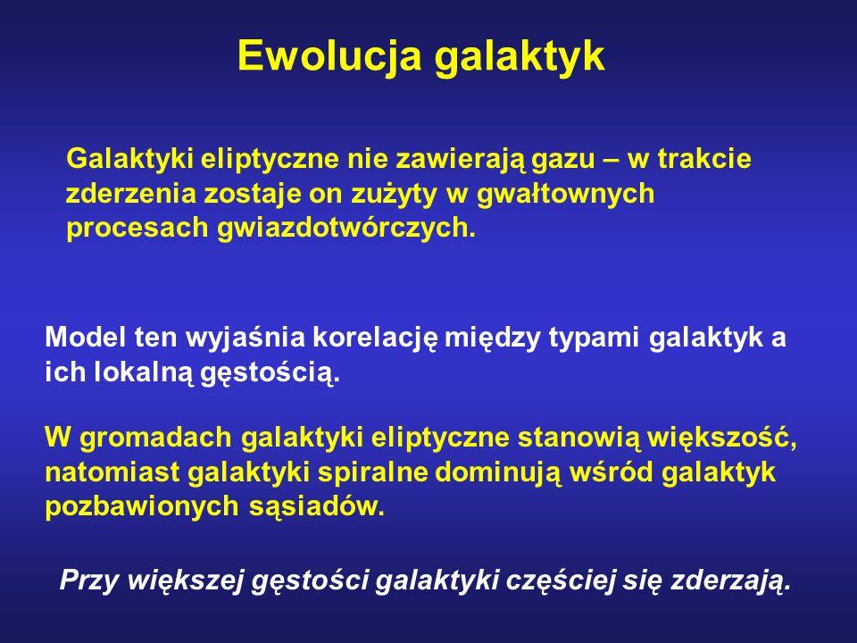 Ewolucja galaktyk Galaktyki eliptyczne nie zawierają gazu – w trakcie zderzenia zostaje on zużyty w gwałtownych procesach gwiazdotwórczych.
