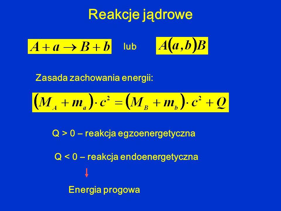Reakcje jądrowe lub Zasada zachowania energii: