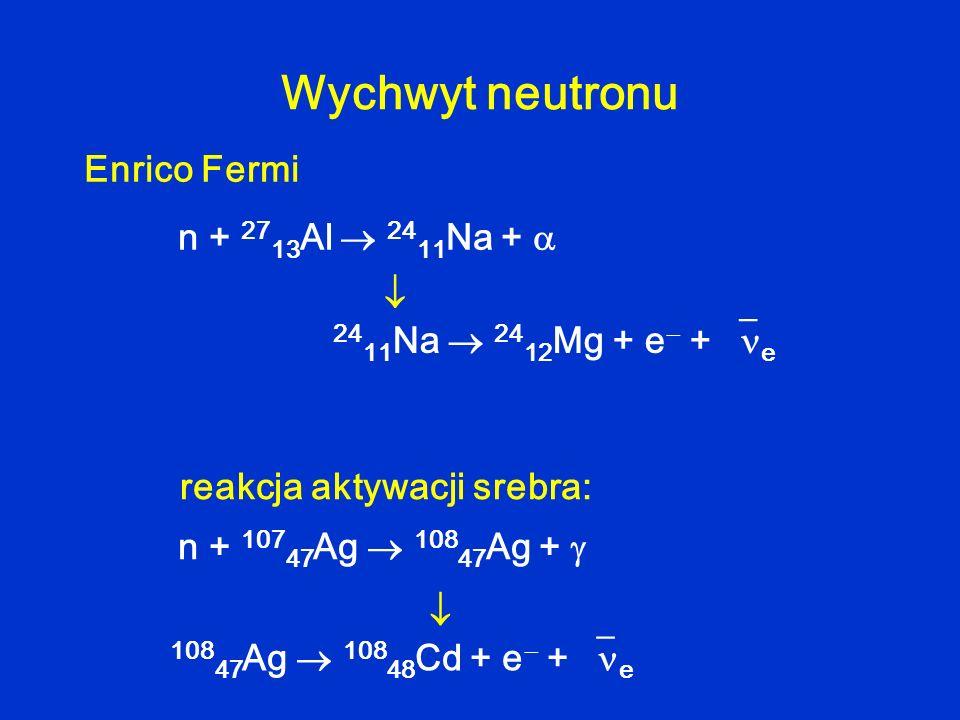 Wychwyt neutronu Enrico Fermi n + 2713Al  2411Na +  