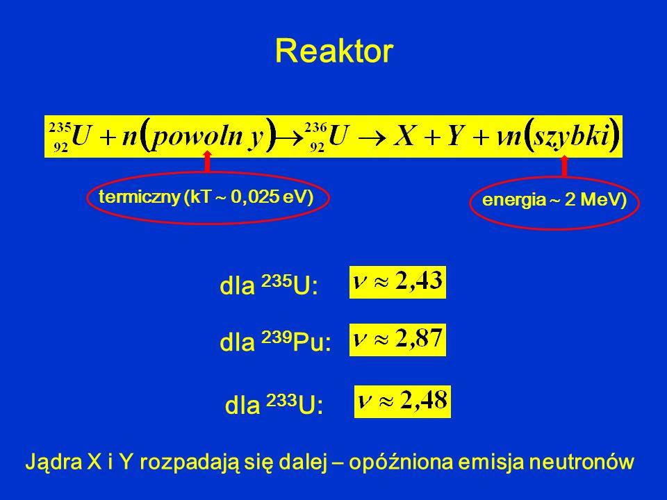 Reaktor dla 235U: dla 239Pu: dla 233U: