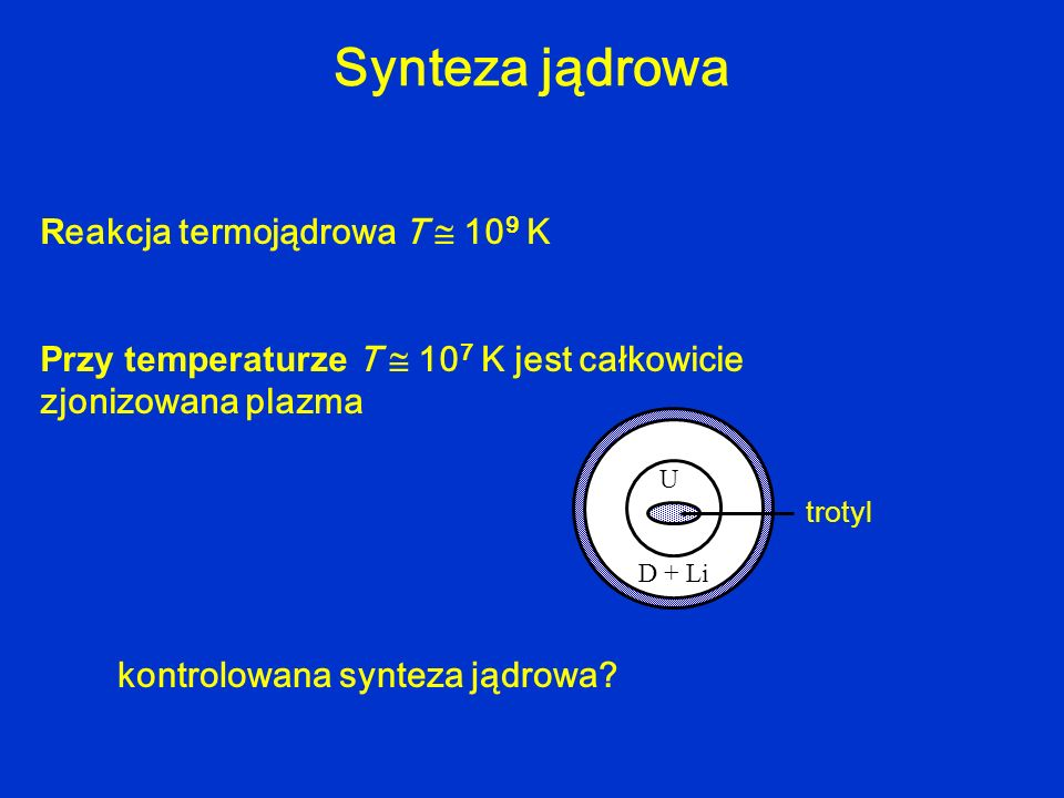 Synteza jądrowa Reakcja termojądrowa T  109 K