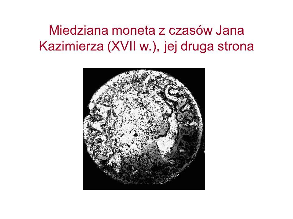 Miedziana moneta z czasów Jana Kazimierza (XVII w.), jej druga strona