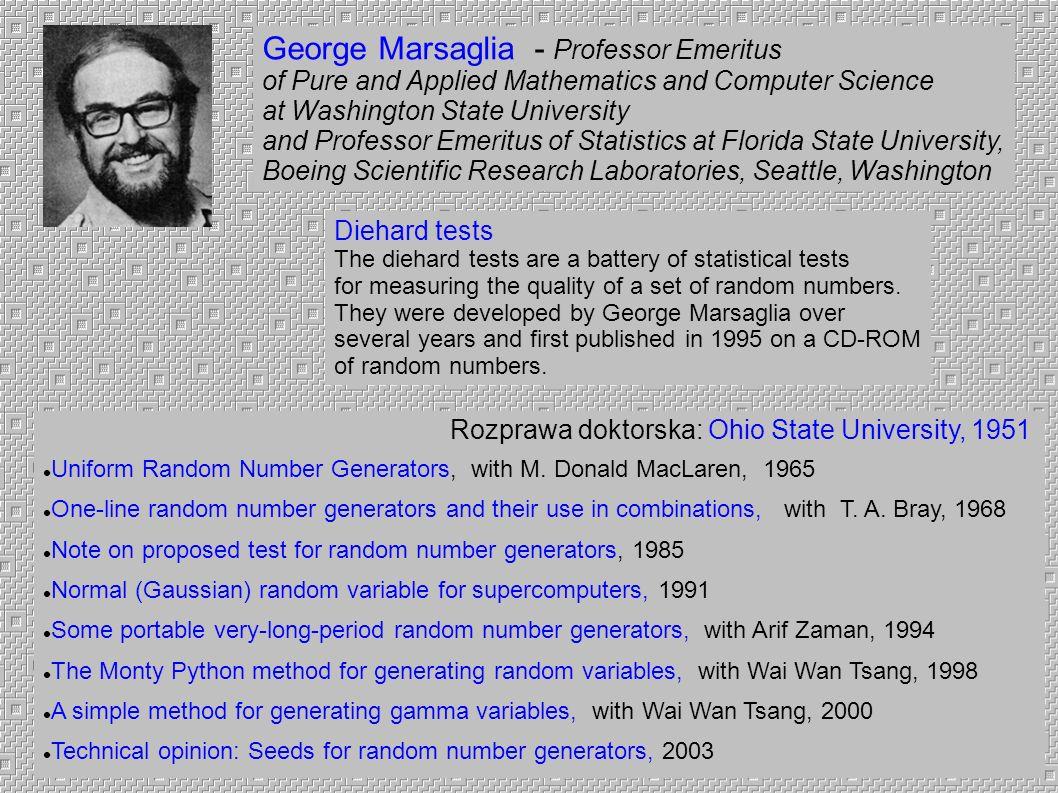 George Marsaglia - Professor Emeritus