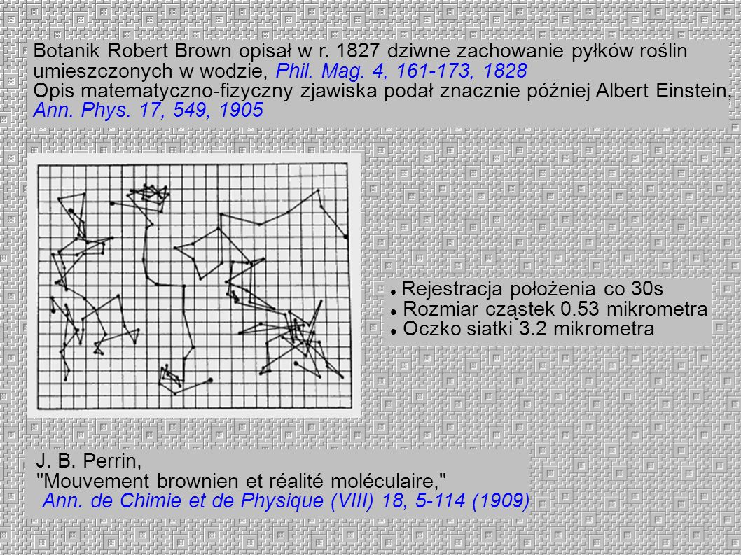 Botanik Robert Brown opisał w r. 1827 dziwne zachowanie pyłków roślin