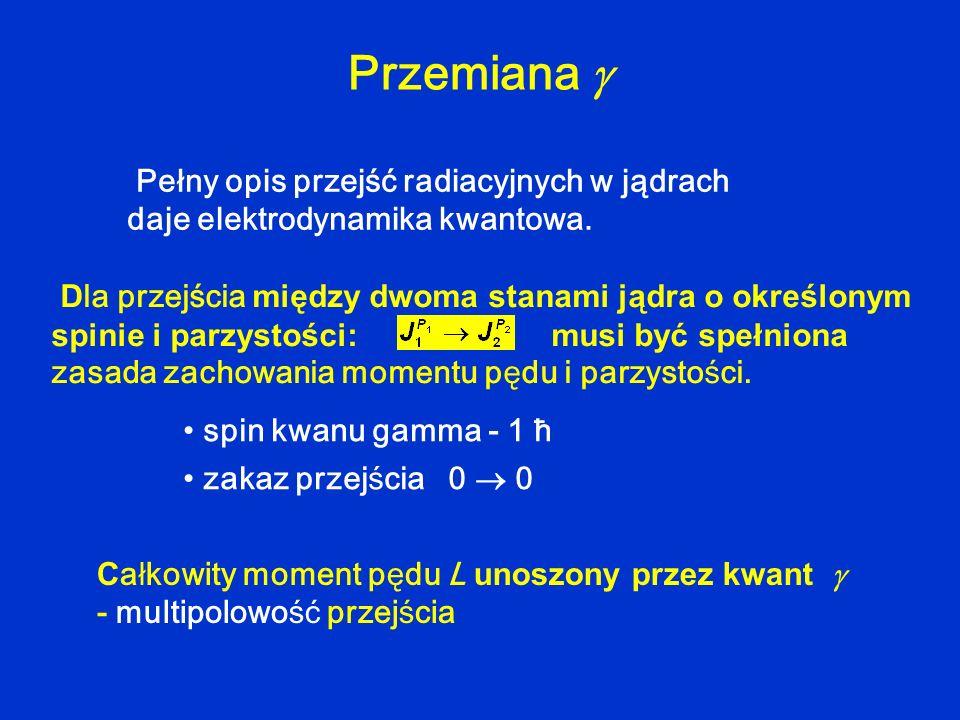 Przemiana  Pełny opis przejść radiacyjnych w jądrach daje elektrodynamika kwantowa.