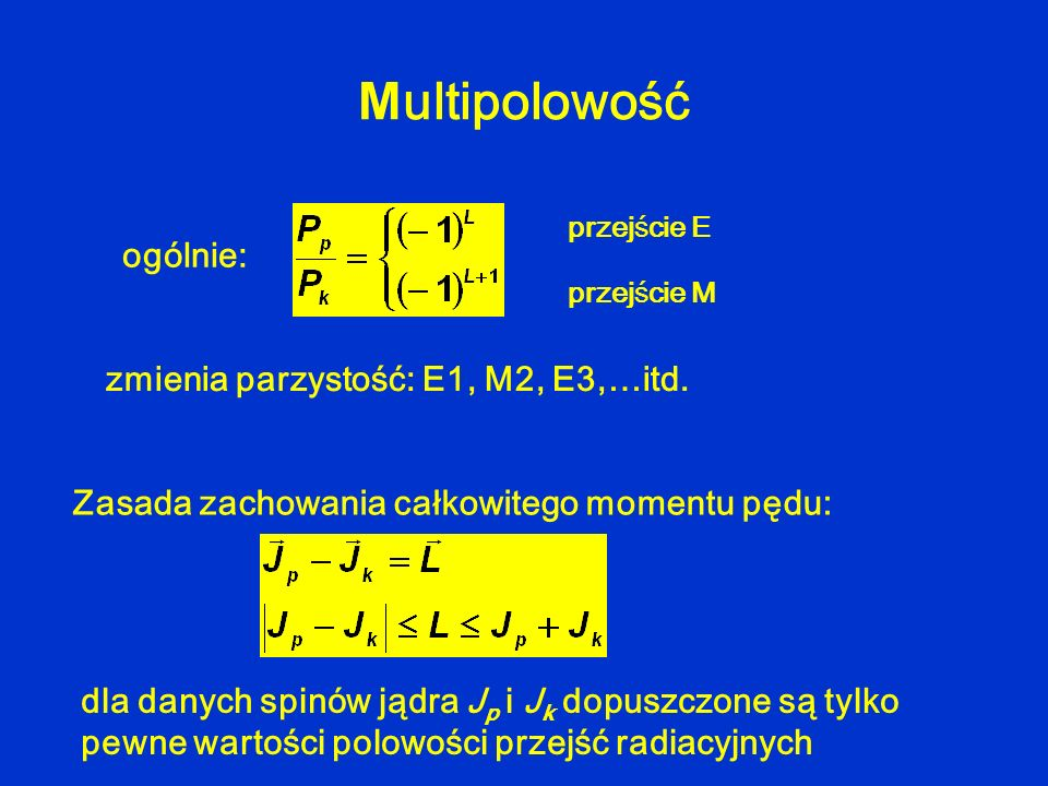 Multipolowość ogólnie: zmienia parzystość: E1, M2, E3,…itd.