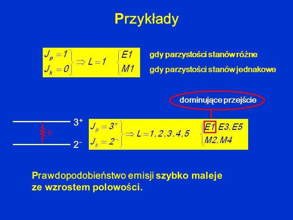 Przykłady gdy parzystości stanów różne. gdy parzystości stanów jednakowe. dominujące przejście. 3+