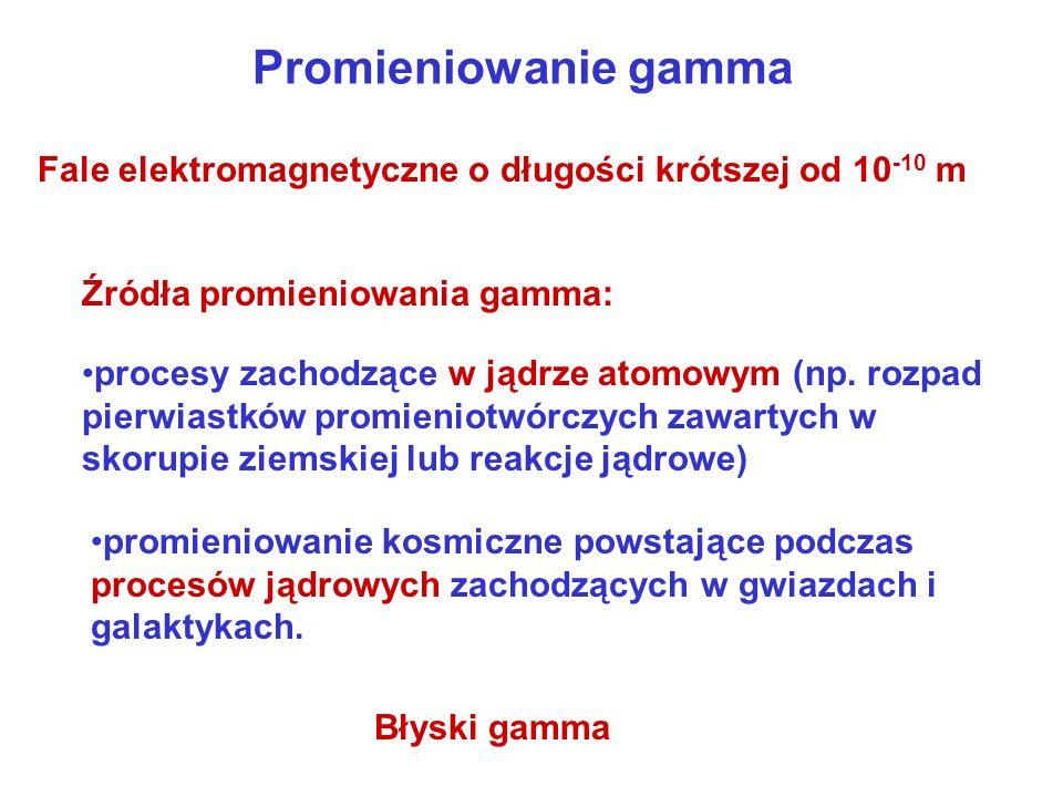 Promieniowanie gamma Fale elektromagnetyczne o długości krótszej od 10-10 m. Źródła promieniowania gamma: