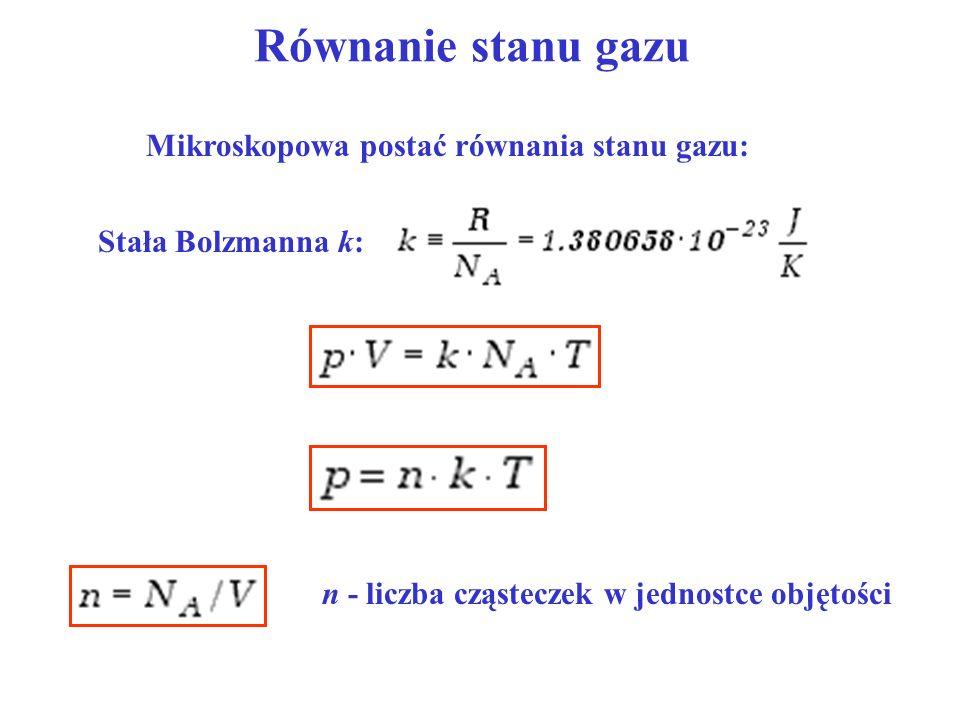 Równanie stanu gazu Mikroskopowa postać równania stanu gazu: