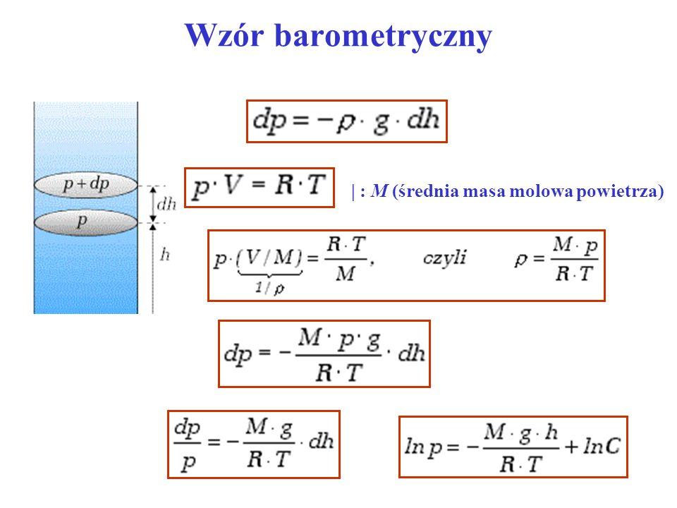 Wzór barometryczny | : M (średnia masa molowa powietrza)