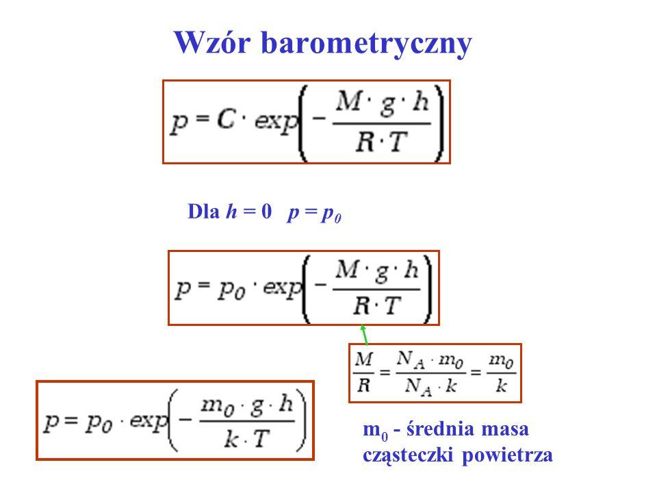 Wzór barometryczny Dla h = 0 p = p0
