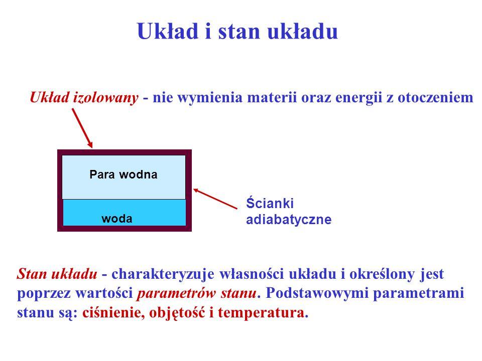 Układ i stan układu Układ izolowany - nie wymienia materii oraz energii z otoczeniem. woda. Para wodna.