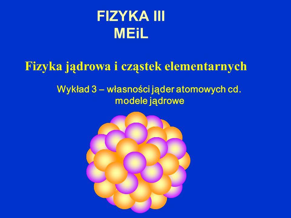 FIZYKA III MEiL Fizyka jądrowa i cząstek elementarnych