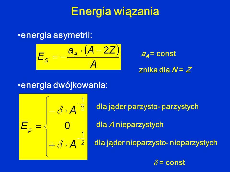 Energia wiązania energia asymetrii: energia dwójkowania: aA = const