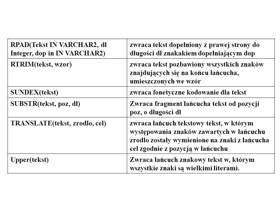 RPAD(Tekst IN VARCHAR2, dł Integer, dop in IN VARCHAR2)