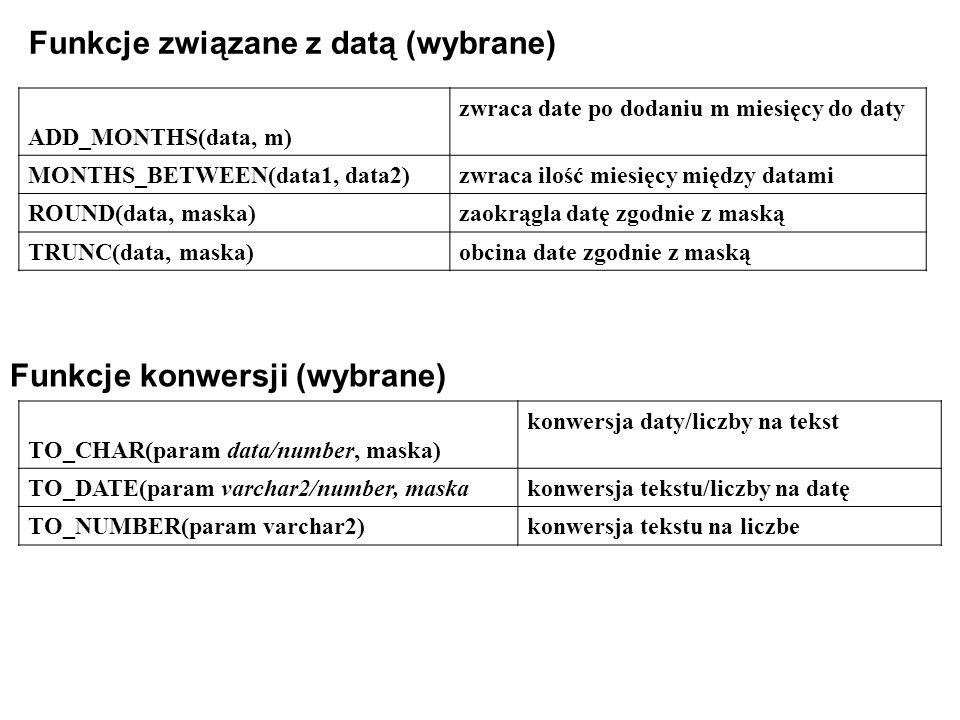Funkcje związane z datą (wybrane)