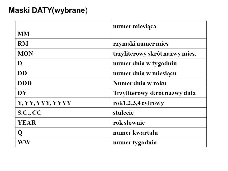 Maski DATY(wybrane) MM numer miesiąca RM rzymski numer mies MON