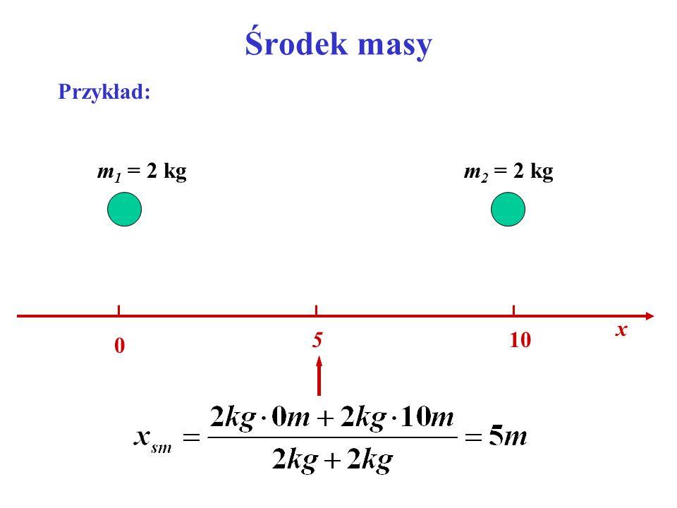 Środek masy Przykład: x 10 m1 = 2 kg m2 = 2 kg 5