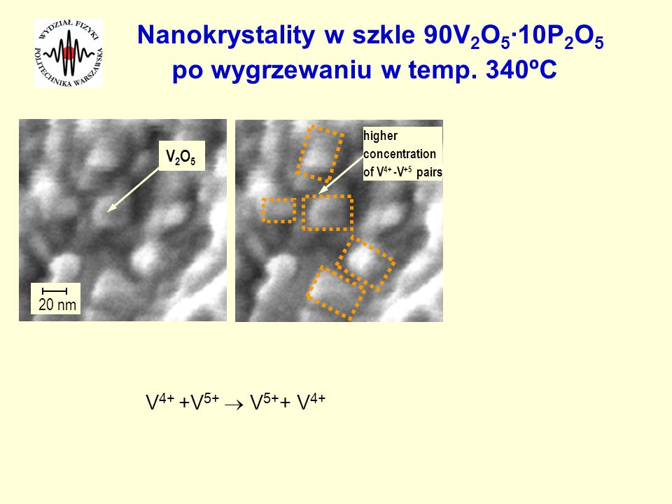 Nanokrystality w szkle 90V2O5·10P2O5 po wygrzewaniu w temp. 340ºC