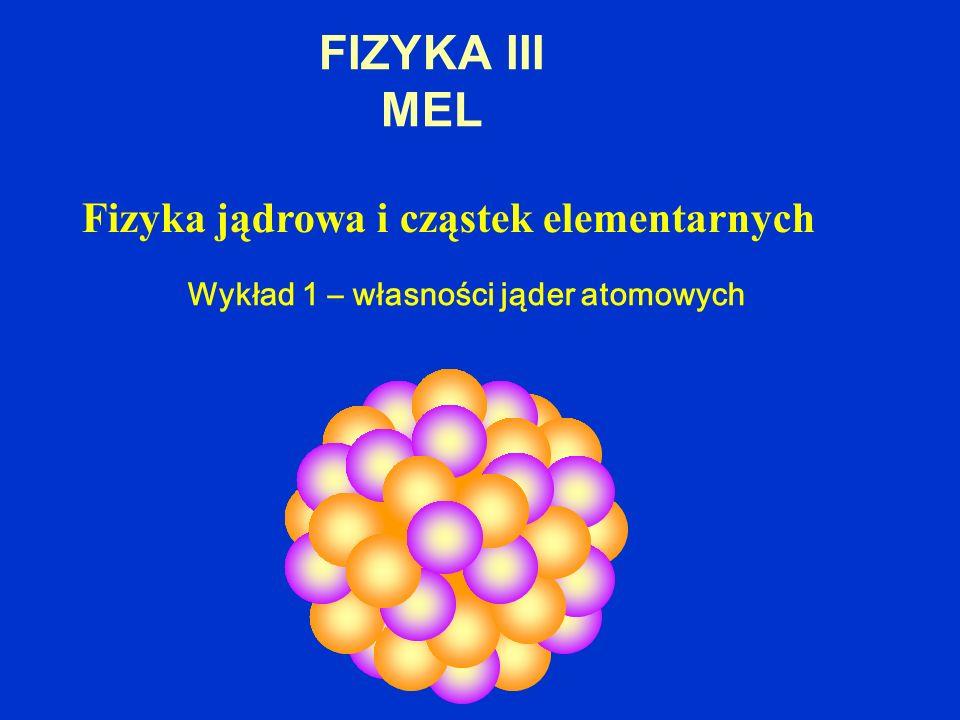 FIZYKA III MEL Fizyka jądrowa i cząstek elementarnych