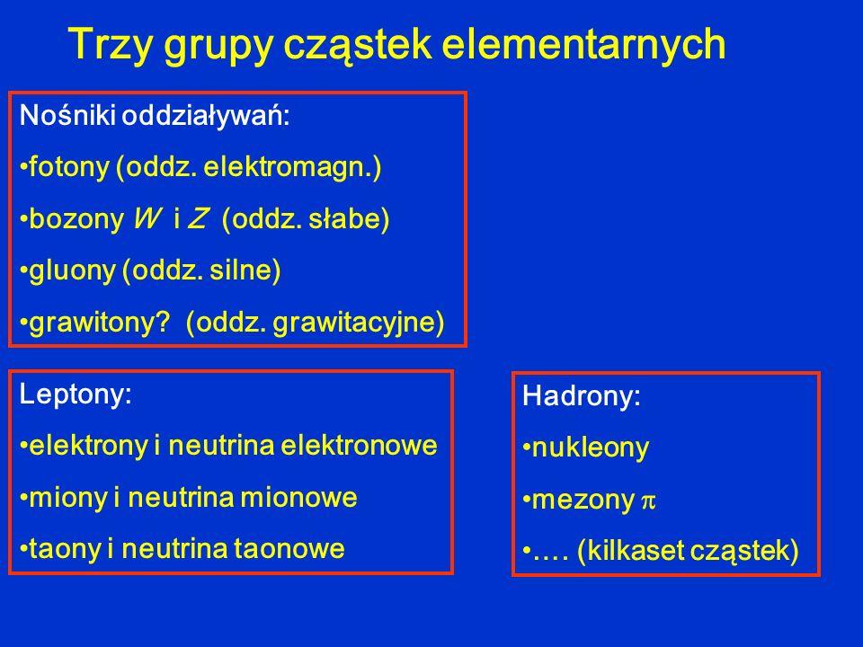Trzy grupy cząstek elementarnych