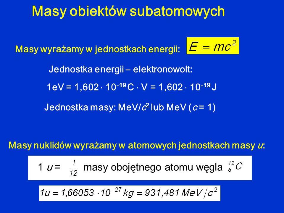 Masy obiektów subatomowych