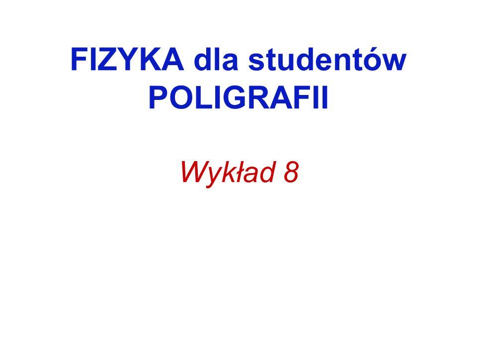 FIZYKA dla studentów POLIGRAFII Wykład 8