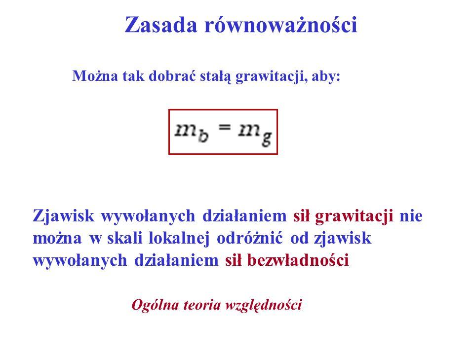 Zasada równoważności Można tak dobrać stałą grawitacji, aby: